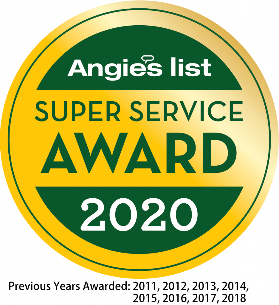 Angie's List Super Service Award 2020 - Previous Years 2011, 2012, 2013, 2014, 2015, 2016, 2017, 2018