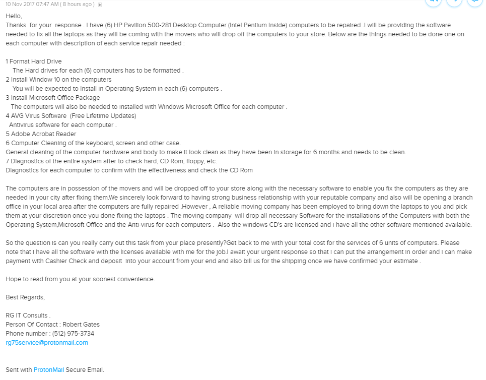 Scam email being sent via ProtonMail service