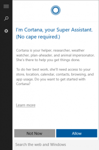 Cortana in Windows 10