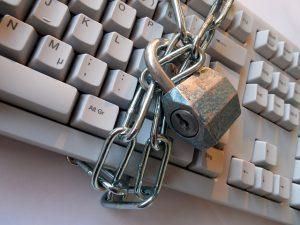 Locked chains around keyboard