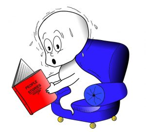 A Ghost reading stories about People